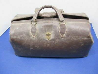 Vintage Doctor Bag Satchel Leather Claps with Handle and Lots of Supplies VSL
