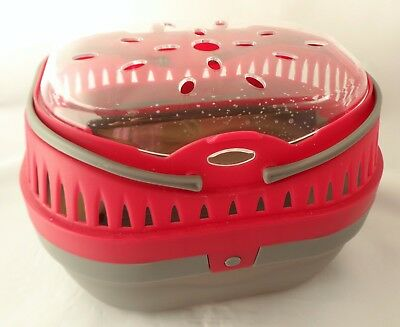 "Pet Carrier Small Animal Crate Pink & Grey 9"" x 6"" x 7"""