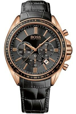 Hugo Boss Gents' Rose Gold Leather Strap Driver Sports Chronograph Watch 1513092