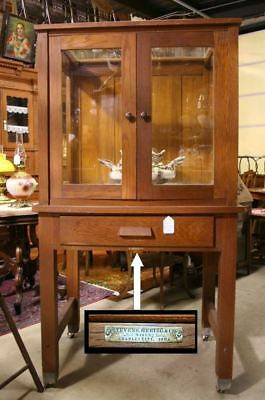 1800s Stevens Hering & Co Oak Display Showcase Charles City IA Unusual Doors