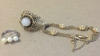 Vintage Bracelet Ring white bead faux pearl gold silver tone costume jewelry lot