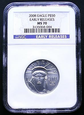 2008 $50 1/2 oz Platinum Eagle NGC Early Release MS70