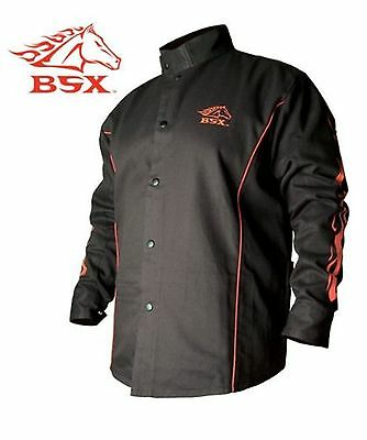 BSX Flame-Resistant Welding Jacket - Black with Red Flames Size 2X-Large New