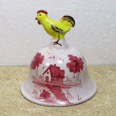 "Italy pottery bell hand painted chicken handle 3.75"" ᵃ u2"
