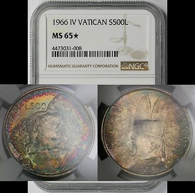 1966 IV Vatican Silver 500L 500 Lire MS 65* Star NGC Rainbow Multi Color Toned