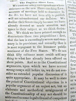 <1850 newspaper FUGITIVE SLAVE ACT PASSED Negroes are Property BLACK AMERICANA