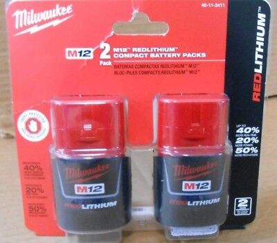 ORIGINAL NEW SEALED Milwaukee 48-11-2411 M12 REDLITHIUM Compact Battery TWO Pack