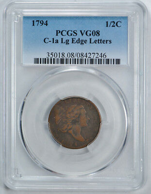 1794 Liberty Cap Half Cent PCGS VG 8 Very Good C-1 A Looks Much Better !