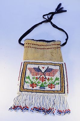 Antique Eastern Sioux Indian Beaded Flag Bag  - c. 1900