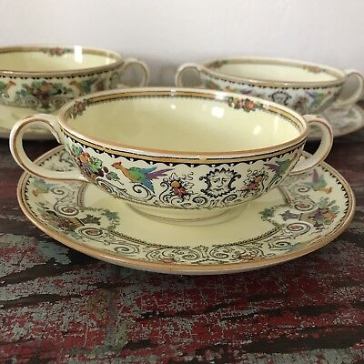 Set/3 Antique Crown Staffordshire Renaissance Cream Soup Bowl & Saucer Bone Chin