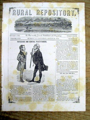 1846 newspaper w front page illustration of Medical Doctors - GPs vs SPECIALISTS