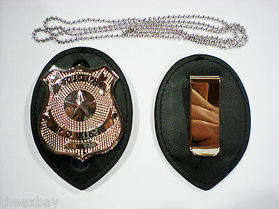 Leather Police Detective Badge Holder With Chain & Clip & BADGE NOT Included!