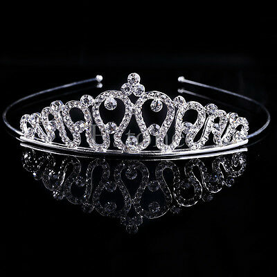 Wedding Bridal Tiara Rhinestone Silver Crystal Crown Prom Pageant Veil Headband