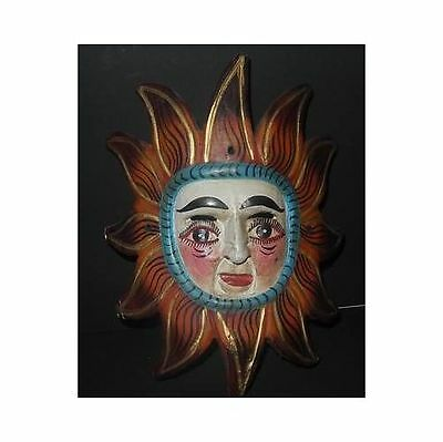 Vintage Carved Mexican MASK Face with Red Flames Painted