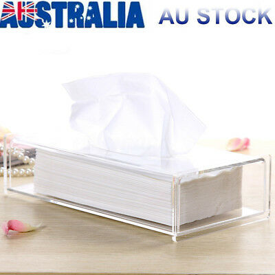 Large Acrylic Clear Tissue Box Cover Holder Paper Storage Case 26.7x13x8.5cm