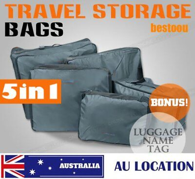 5pcs Home Travel Clothes Underwear Storage Packing Cube Luggage Bag Organizer Q&