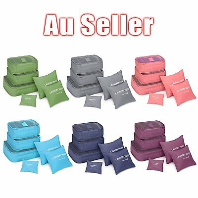 6Pcs Waterproof Travel Storage Bag Clothes Packing Cube Luggage Organizer IB99&@