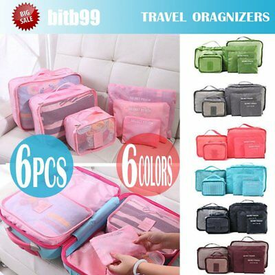 6PCS Travel Luggage Organizer Backpack Storage Pouches Suitcase Packing Bags MX&