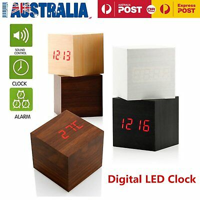 Nice Wooden Wood Digital LED Desk Alarm Clock Thermometer Timer Calendar CH&@