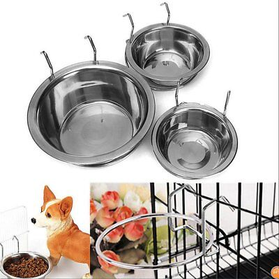 Stainless Steel Hanging Bowl Feeding Bowl Pet Bird Dog Food Water Cage Cup DF&@