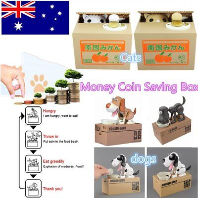 Choken Hungry Eating Dog/Cat Coin Bank Money Saving Boxes Piggy Bank Gift KW&@