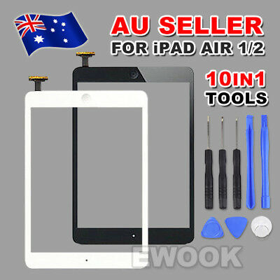 For iPad Air 1 2 Black White Digitizer Front Touch Screen Glass Replacement+Tool