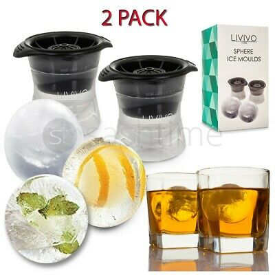 Livivo 2 Silicone Sphere Ice Ball Cube Makers Mould Whiskey Cocktail Cold Drink