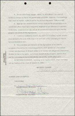 The Byrds - Contract Signed 01/03/1968 With Co-Signers