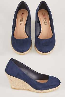 YoursClothing Plus Size Womens Comfort Closed Toe Espadrille Wedges Eee Fit Navy
