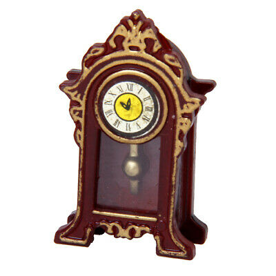 Doll House Antique Grandfather Table Mantel Clock Vintage Wood Room Decor
