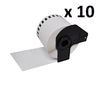 10 x Compatible Brother DK22205 Continuous White Paper Label Tape 62mm x 30.48m