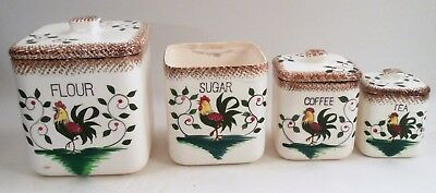 Vintage 7 Piece Rooster & Rose Roses Flour Sugar Coffee Tea Canister Set w/ Lids