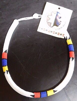 ZULU Traditional South African Beaded Choker Necklace   Nwt  White  #3