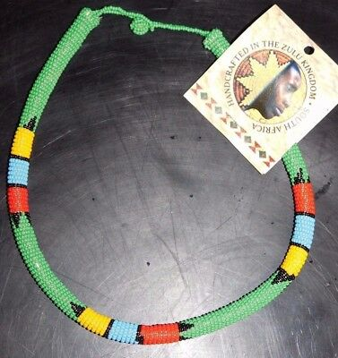 ZULU Traditional South African Beaded Choker Necklace   Nwt  Green  #4