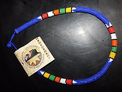ZULU Traditional South African Beaded Choker Necklace   Nwt  Blue  #5