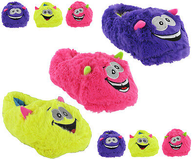 8e6fa83d9d3e Monster Slippers Fun Novelty Cute Crazy Slippers Cosy Warm Fluffy Womens  Girls