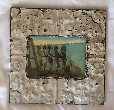 "1890's Antique Ceiling Tin Picture Frame 5"" x 7""  Taupe Metal Reclaimed 560-17"