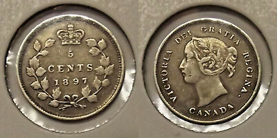 1897 CANADA FIVE CENTS 5c SILVER COIN