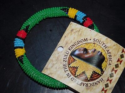 ZULU Traditional South African Beaded rope Bangle Bracelet green  Nwt #11