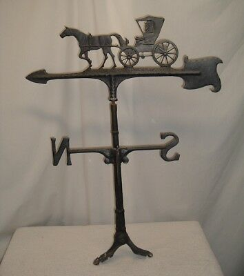 "Vintage 30"" Solid Cast Aluminum Weathervane Trotting Horse Buggy FREE USA SHIP"