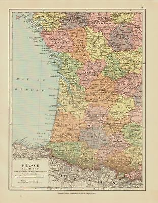 Edward Stanford Map  1920 .France .South-West