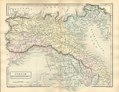 antient geography map by samuel butler 1869 - italiae pars septentrionalis