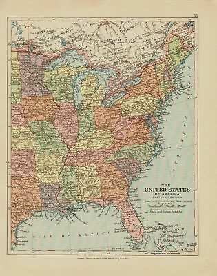 Us Map 1920.Edward Stanford Map 1920 United States East 19 27 Picclick