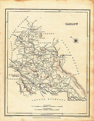 "1837 map of  carlow  "" lewis counties of ireland """