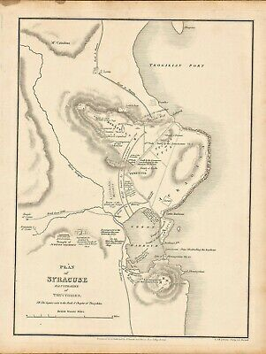 """1828 engraving titled """" plan of syracuse  """" illustrative of thucydides"""