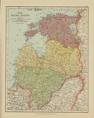 Edward Stanford Map  1920 . Baltic States