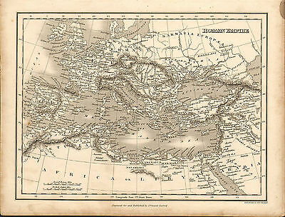 1828 map of the roman empire  . engraved for & published  by j.vincent of oxford