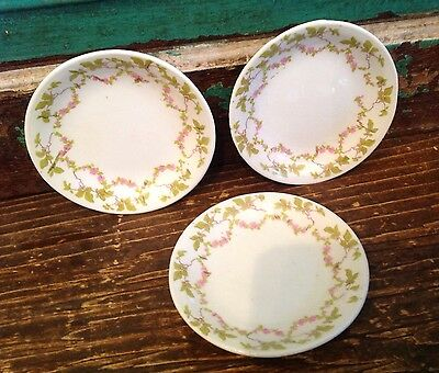 Three Antique Porcelain Butter Pats, Ivory, Green And Pink Floral Design