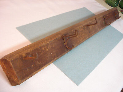 """Antique Victorian Home Rustic Rack Coat Hat Tools 30"""" Wood Board & Wire Hooks"""