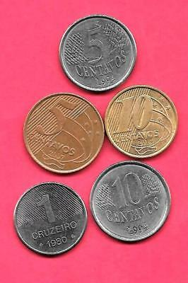 Brazil Brazilian 5 Diff Different 1980-2007 Coin Lot Collection Set Inc Old